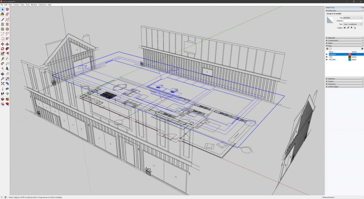 Aligned CAD drawings imported into SketchUp from AutoCAD
