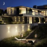 A night-time CGI of a luxury property in Kingswear, Devon.