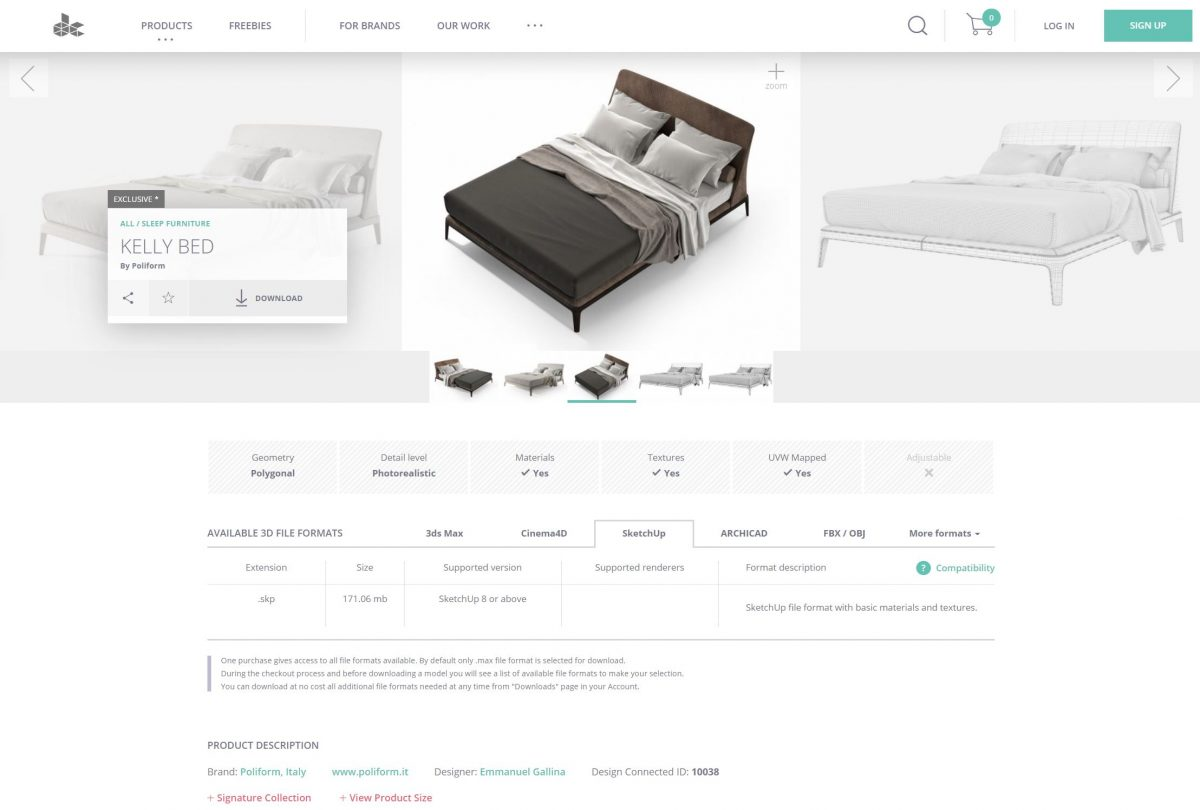 A screenshot showing a high-quality 3D model of a bed from Design Connected.