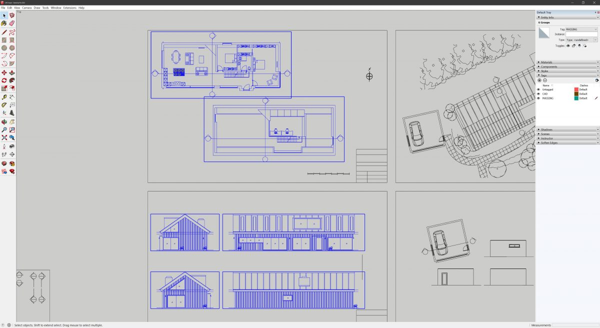 CAD plans and elevations are grouped seperately after being imported into SketchUp