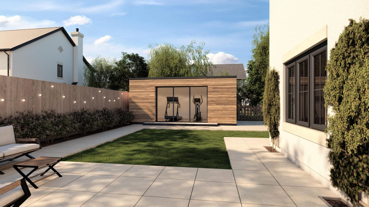 Improve the Lighting in your CGI - an exterior CGI of a garden office made by Ventham Construction