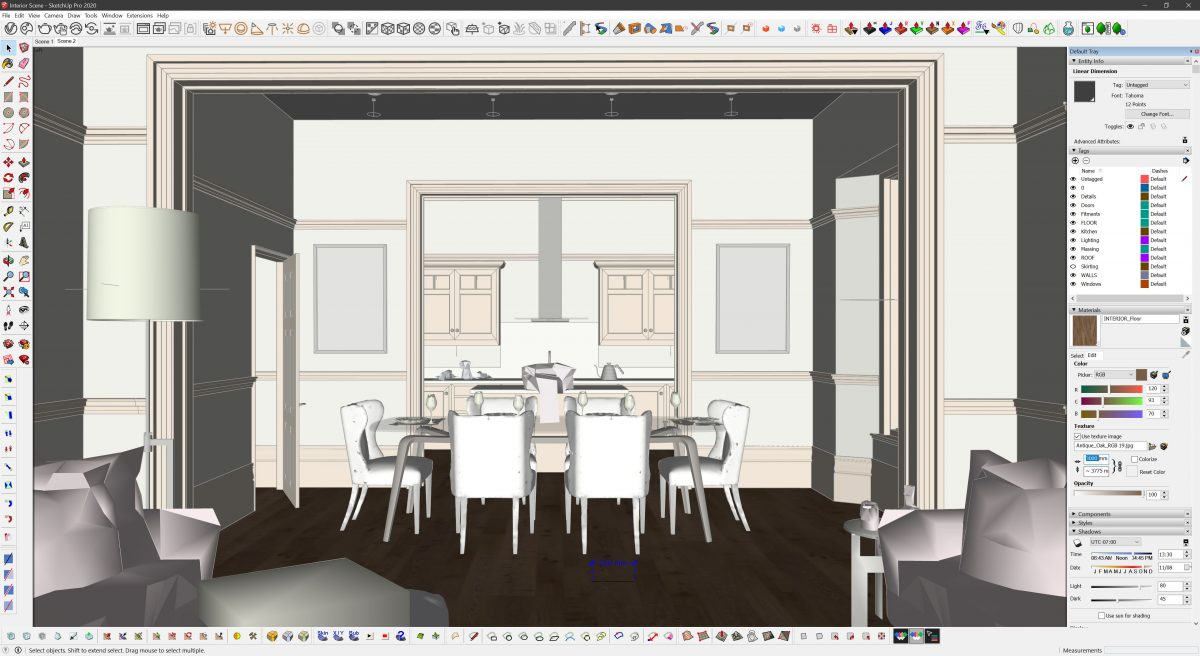 Create Realistic Textures | Within SketchUp, we resize the texture globally using the material panel within the tray.