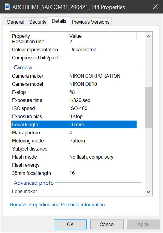 Using the metadata, we can determine the focal length of the lens used to take the photograph