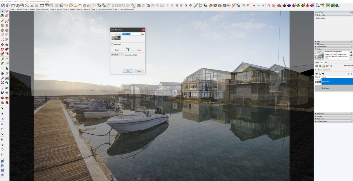Using Styles within SketchUp it is possible to add a watermark image overlaid over our SketchUp model