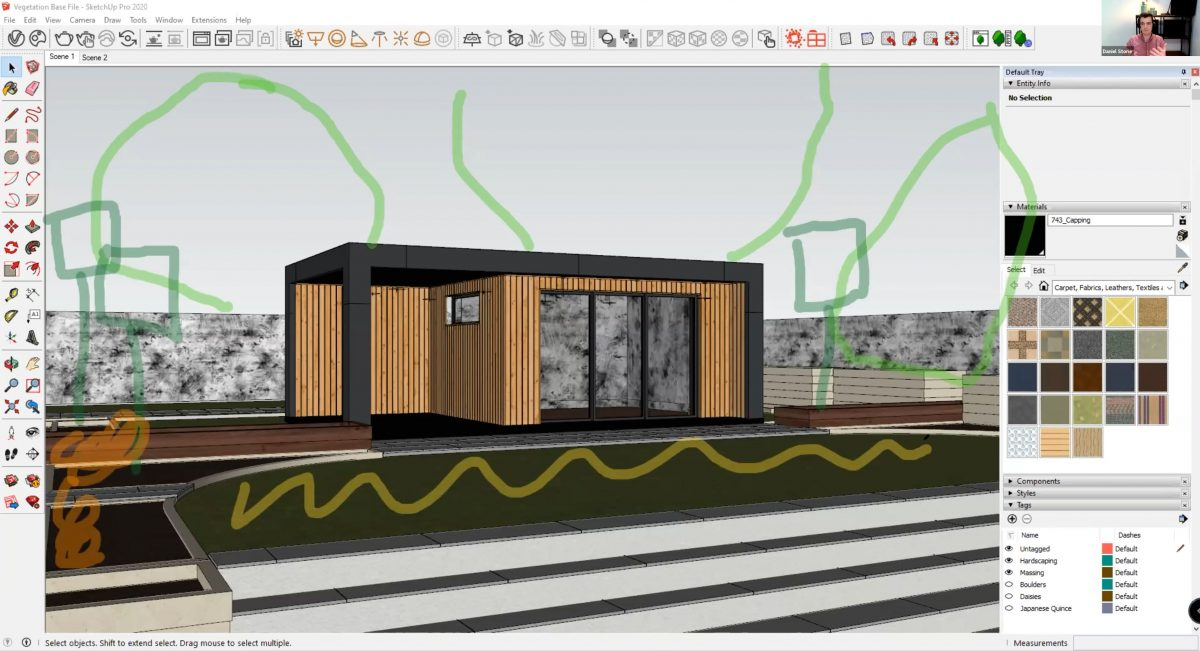 How to create realistic vegetation using SketchUp - draw out a plan ahead of time