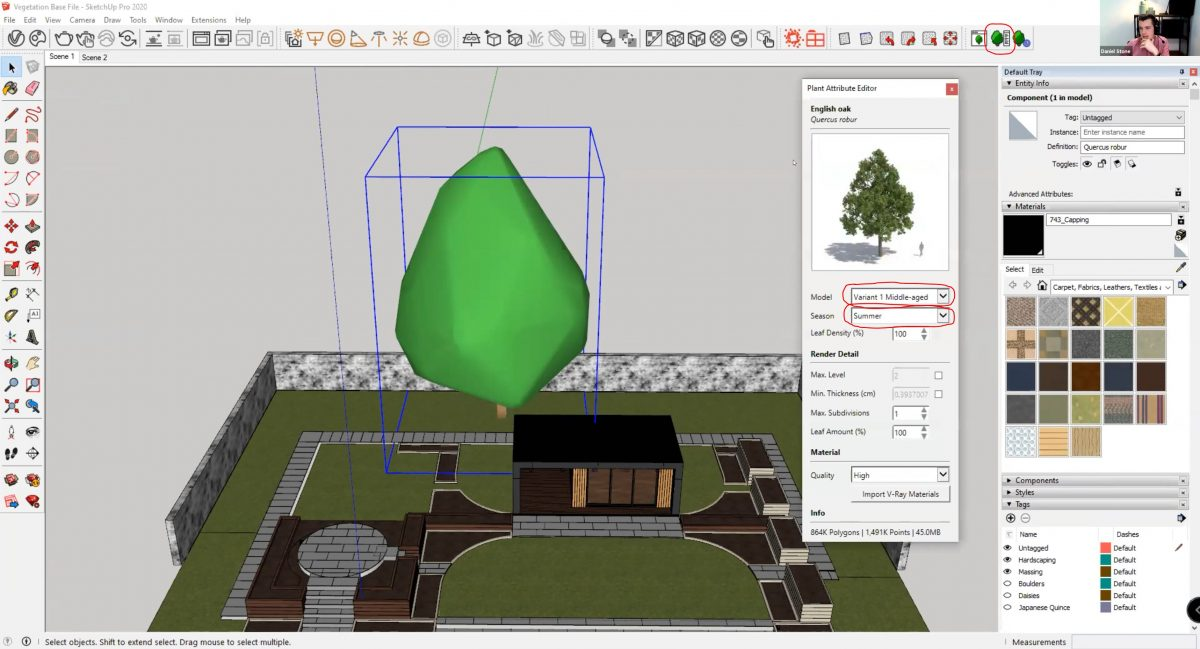 How to create realistic vegetation using SketchUp - we can create variations of tree species using the Plant Attribute Editor