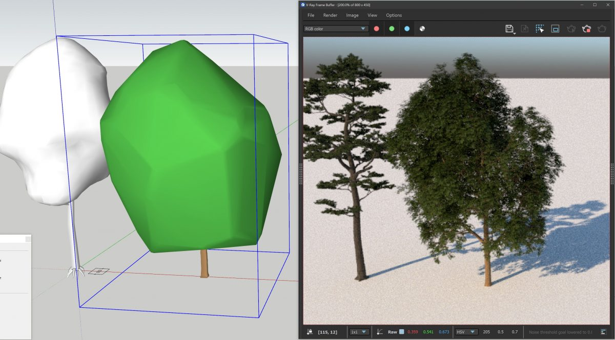 An image showing how proxies look within a SketchUp model alongside their CGI counterpart