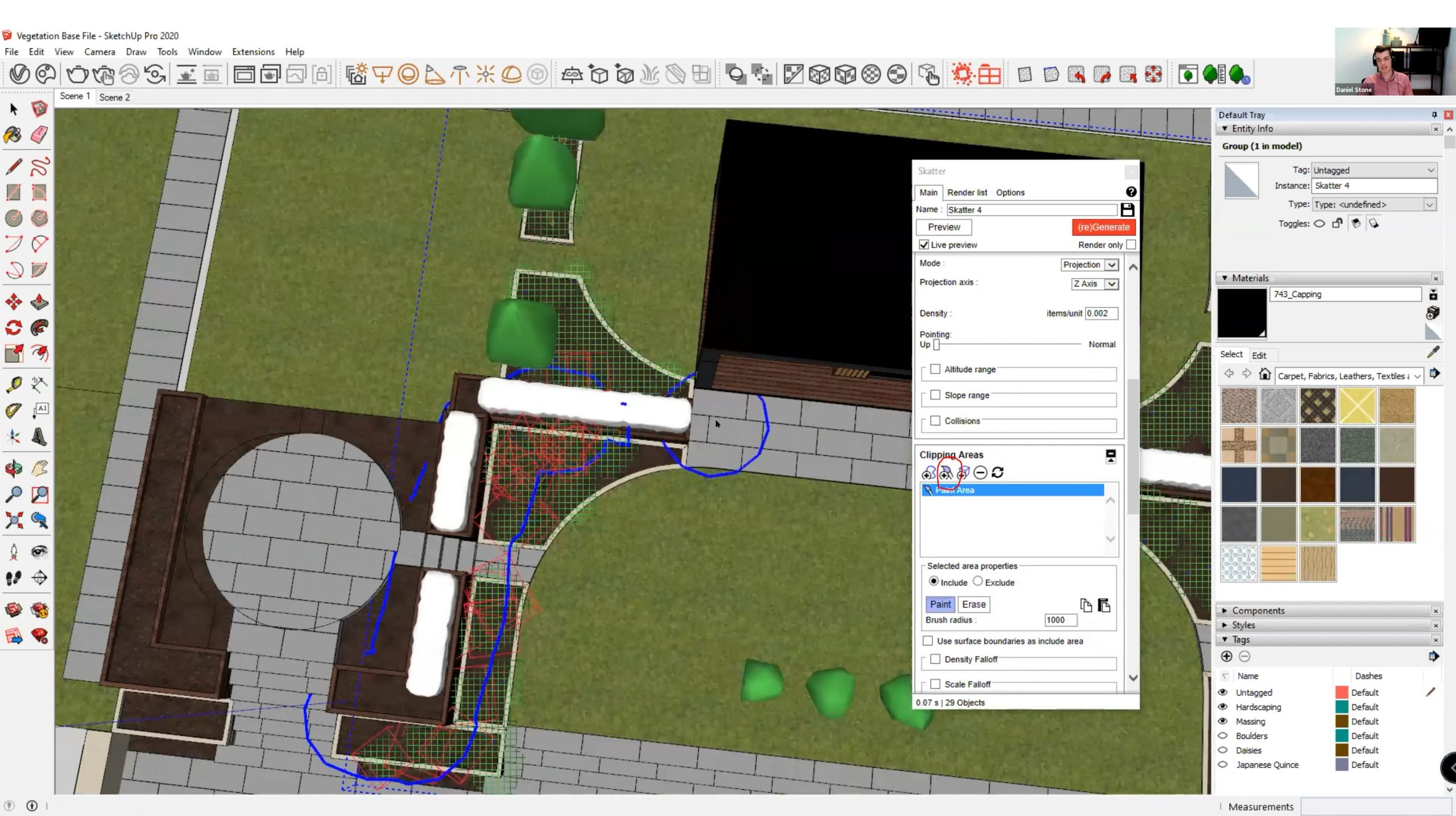 How to create realistic vegetation using SketchUp - Skatter - Clipping areas are used to show where vegetation will appear