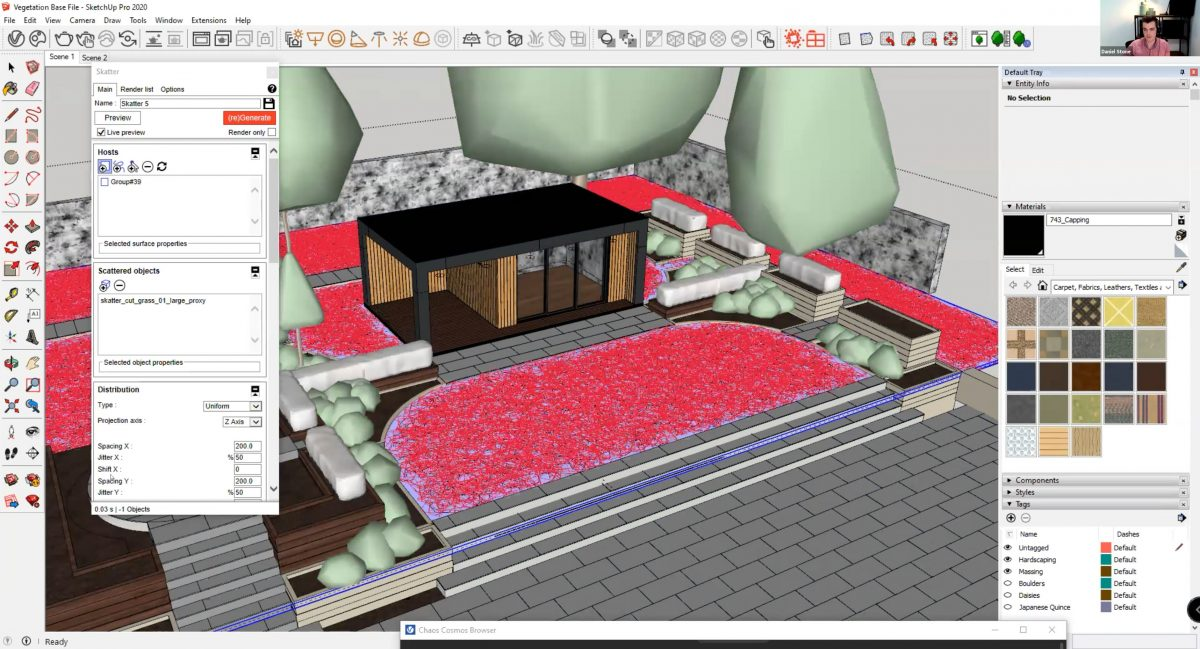 Skatter grass can be added to any grouped host within SketchUp